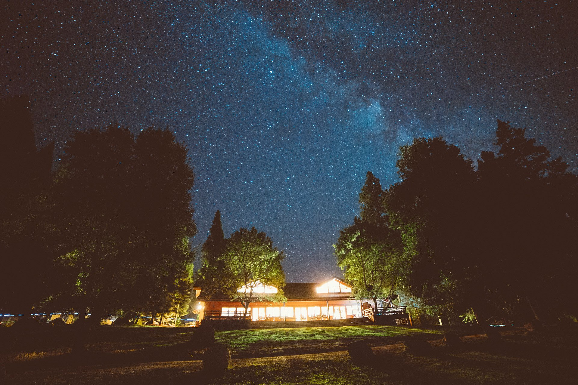 a lodge at night